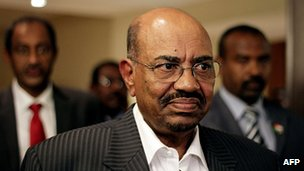 Sudan&#039;s President Omar al-Bashir in a hotel in Addis Ababa on September 24, 2012