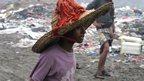 Asma, 10, working at the al-Maklaab landfill on the outskirts of Taiz