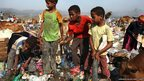 Children working at the al-Maklaab landfill on the outskirts of Taiz