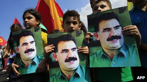 Kurds residing in Lebanon hold portraits of jailed Kurdistan Workers&#039; Party (PKK) leader Abdullah Ocalan during a Beirut demonstration