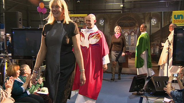 Members of the clergy on the catwalk