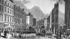 Policemen assembling at Bow Street, London, in January 1837. Original Artwork: Engraving from the Penny Magazine. Photo by Hulton Archive/Getty Images.