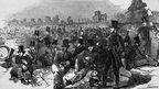 Policemen gathered in Bonner's Fields, London, during the Chartist revival of 1848. Photo by Hulton Archive/Getty Images.