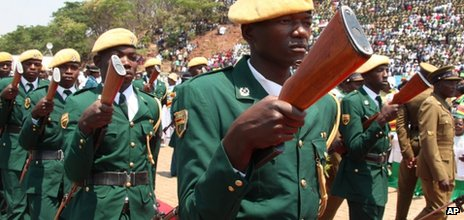 Zimbabwean soldiers pictured on 8 October 2012