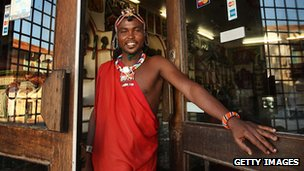 Massai tribesman in souvenir shop in Old Mombasa