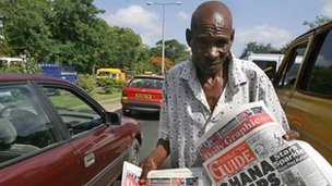 A newspaper vendor in Ghana (Archive shot)