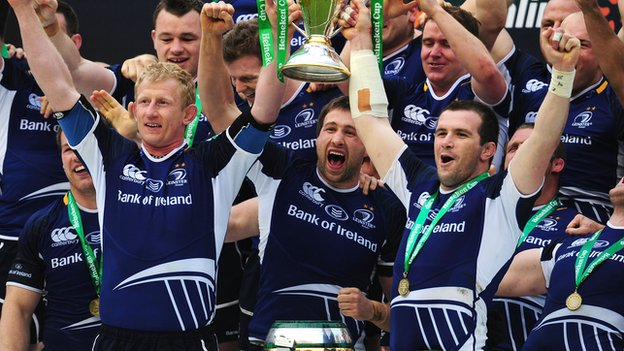 Leinster celebrate winning the 2011-2012 Heineken Cup