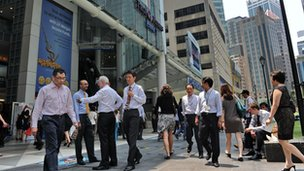 Working professionals in the central business district