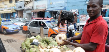 A coconut water seller in Accra, Ghana (Archive shot)