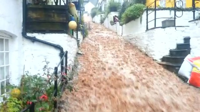 Clovelly flood - Footage by Steve Marvell