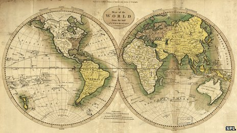 Map with east and west hemispheres in globe shapes