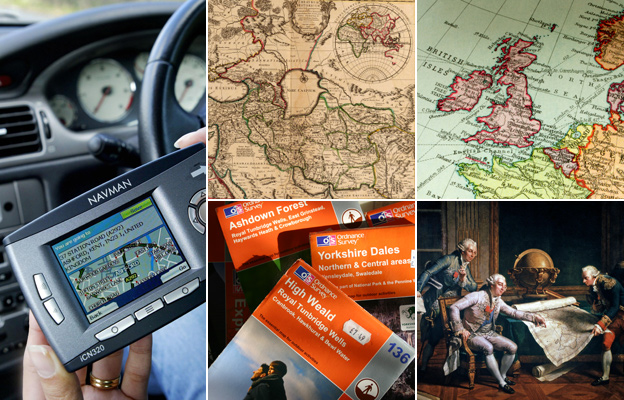 From top left, clockwise: Person using GPS in car, antique map of the world, map of the British Isles, portrait of Louis XVI looking at a map, stack of ordnance survey maps