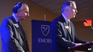 Dr Perry Brickman and University President James Wagner at Emory University 11 October 2012