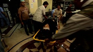 An injured person is brought into the hospital for treatment