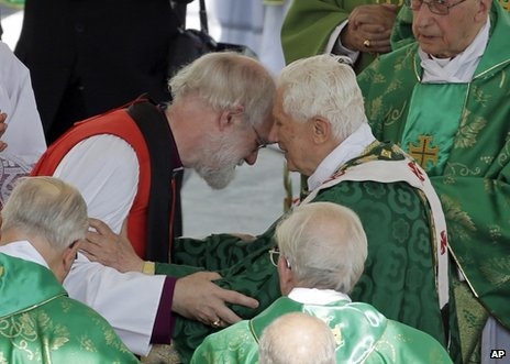 Pope Benedict (right) greets Archbishop of Canterbury Rowan Williams at the Vatican, 11 October