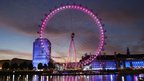 London Eye lit up pink