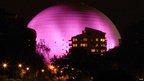 Ericsson Globe Arena in Sweden lit up pink