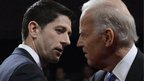 US Vice-President Joe Biden and Republican vice-presidential nominee Paul Ryan shake hands after a TV debate