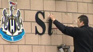 St James' Park sign being taken down
