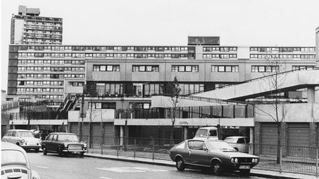 One of the blocks on the Aylesbury Estate in Walworth, south-east London, 30th June 1975.
