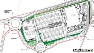 Plan for Sainsbury&#039;s in Whittlesey