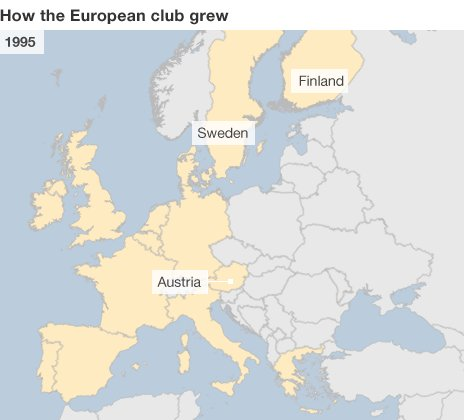 Maps showing growth of the European Union