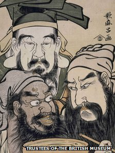 A triple bust portrait taken from the Chinese heroic novel - Romance of the Three Kingdoms. Liu Bei in centre at top. Guan Yu on right; Zhang Fei on left; pledging friendship with cup of wine