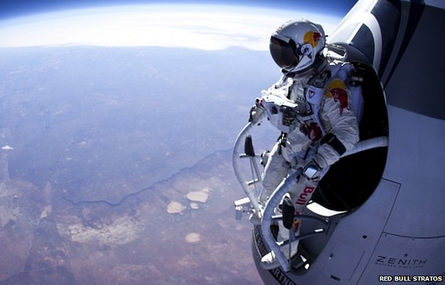 Felix Baumgartner preparing to do a test jump earlier this year (Image: Red Bull Stratos)