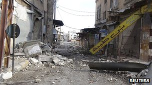 Damage in Maarat al-Numan