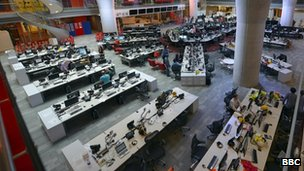 The BBC newsroom at Broadcasting House