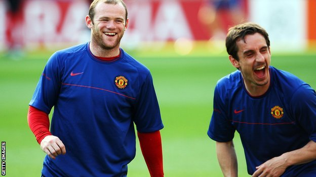 Wayne Rooney and Gary Neville