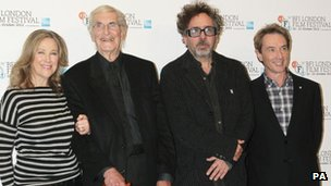 Catherine O&#039;Hara, Martin Landau, Tim Burton and Martin Short,