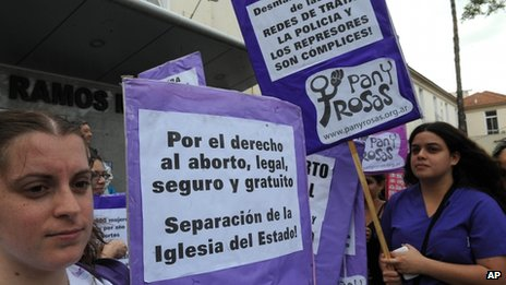 Pro-abortion campaigners in Argentina