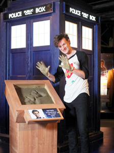 Matt Smith makes his cement hand cast