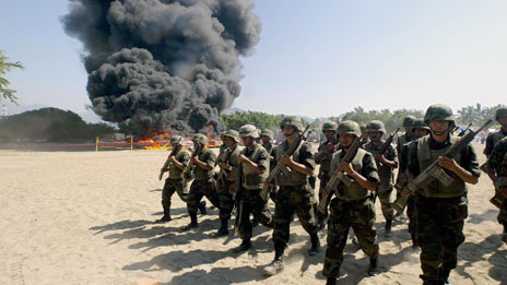 Mexican marines burning cocaine