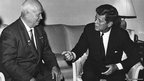 President Kennedy and Chairman Khrushchev at the American Embassy in Vienna on 3 June 1961.