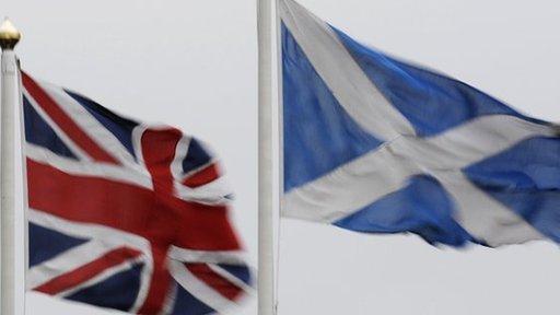 Union Jack and Scottish flags