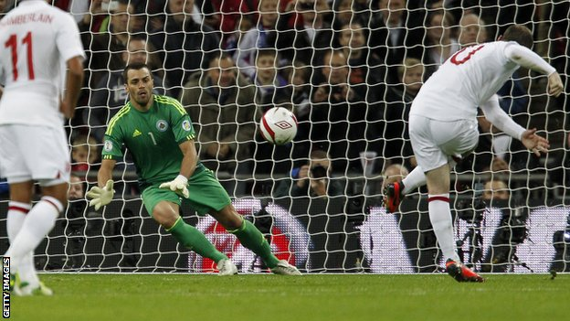 Wayne Rooney smashes in England's opener from the penalty spot