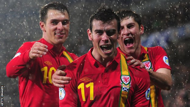 Aaron Ramsey and Ben Davies help Gareth Bale celebrate his winner against Scotland