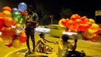 Dinesh Khanna took this picture of a girl selling balloons with her friends on a pavement in Delhi