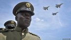 Ugandan jets fly past a military parade of the Uganda People&#039;s Defence Force to celebrate the 50th anniversary of the country&#039;s independence from British rule, in Kampala, Uganda.