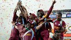 West Indies celebrate winning the ICC World Twenty20 Final between Sri Lanka  in Colombo, Sri Lanka