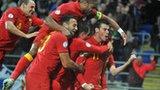 Gareth Bale and Wales team-mates celebrate