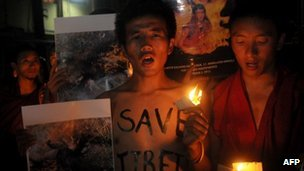 Exiled Tibetans pray mourn Sangay Gyatso, 27, who died after setting himself on fire in Tibet's Amdo region on October 6, 2012
