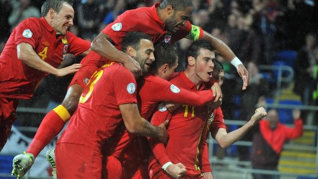Gareth Bale and Wales team-mates celebrate