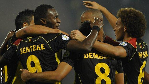 Belgium players celebrating