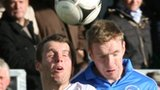 Ballinamallard's Chris Curran battles with Ryan McIlmoyle at Ferney Park