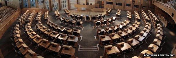 View from above the Holyrood Chamber down at the empty seats