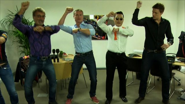 BBC F1 team taught Gangnam Style dance by Psy