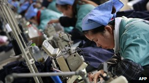 Woman working in Chinese factory